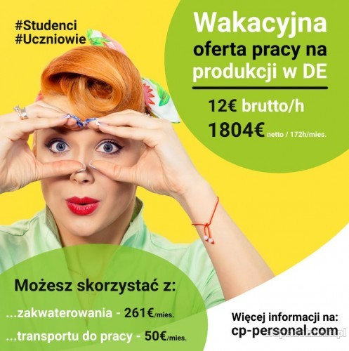 Praca dla studentów/uczniów na wakacje w Niemczech 4500 netto w 3 miesiące